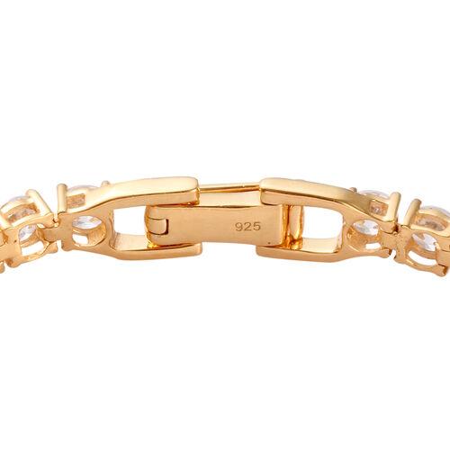 J Francis - 14K Gold Overlay Sterling Silver Tennis Bracelet (Size 8)  Made with SWAROVSKI ZIRCONIA 20.18 Ct, Silver wt 12.00 Gms