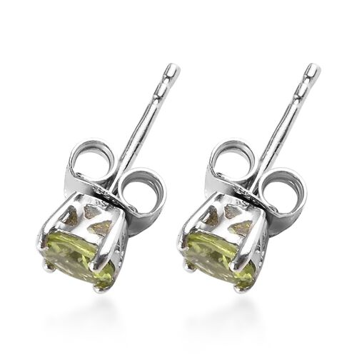 2 Piece Set - Hebei Peridot Pendant with Chain (Size 18) and Stud Earrings (with Push Back) in Platinum Overlay Sterling Silver 1.45 Ct.