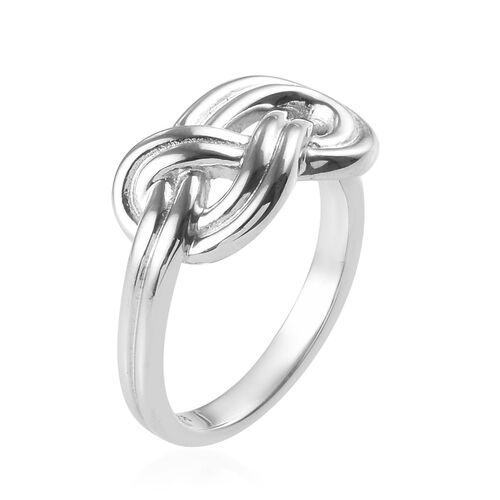 Platinum Overlay Sterling Silver Infinity Knot Ring