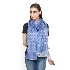 Limited Available - 100% Cashmere Wool Blue Colour Polka Dots Pattern Shawl (Size 200x70 Cm)