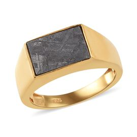 Meteorite (Bgt 12x8mm) Solitaire Ring in 14K Gold Overlay Sterling Silver 0.75 Ct, Silver wt 5.69 Gm