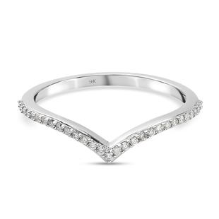 9K White Gold  White Diamond Band Ring in Rhodium Overlay 0.15 ct,  Gold Wt. 1.67 Gms  0.145  Ct.