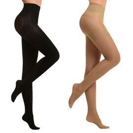 Set of 2 SANKOM Patent Tights (Size Large 5-6) Beige and Black Colour