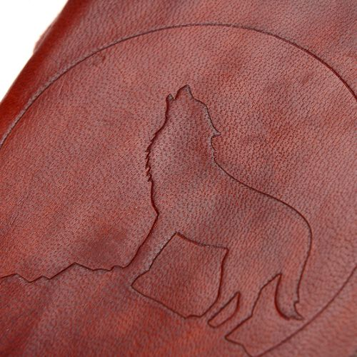 Wolf Embossed Leather Notebook with Strap (Size 17.78x12.7 Cm) -Maroon
