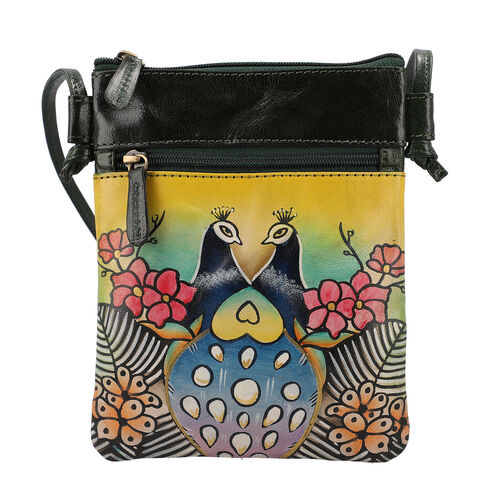 SUKRITI 100% Genuine LeatherTraditional Hand Painted Peacock Crossbody Bag (Size:15.75x19.81cm) with