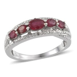 African Ruby (1.75 Ct) and Diamond Platinum Overlay Sterling Silver Ring  1.760  Ct.