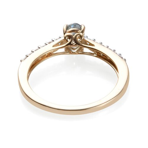 9K Yellow Gold AA Espirito Santo Aquamarine (Ovl 6x4mm), Natural Cambodian Zircon Ring 0.65 Ct.