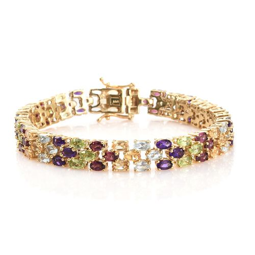 Hebei Peridot , Rhodolite Garnet, Sky Blue Topaz, and Multi Gemstone Bracelet (Size 7.5) in 14K Gold Overlay Sterling Silver 22.500 Ct. Silver wt 23.37 Gms.