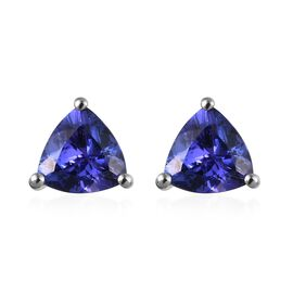RHAPSODY 2.50 Ct AAAA Tanzanite Trilian Cut Solitaire Stud Earrings in 950 Platinum 2 Grams