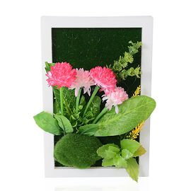 Home Decor - Wall Hanging Artificial Dandelion Flower Frame (Size 29.5x19 Cm) - Colour Pink,Green an