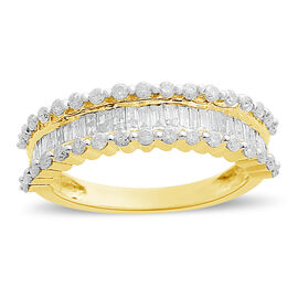 WEBEX- 9K Yellow Gold SGL CERTIFIED Diamond (I3/G-H) (Rnd & Bgt) Ring 1.000  Ct.