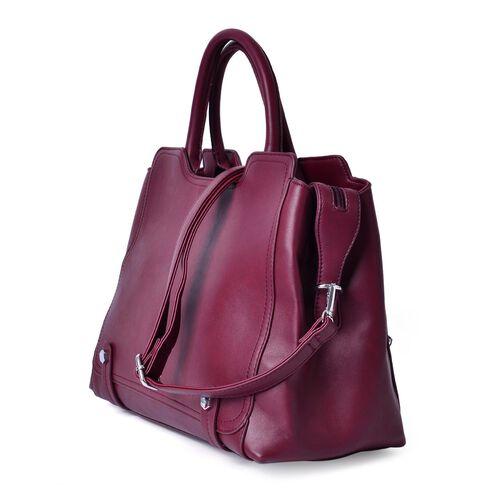 Set of 2 - Burgundy Colour Large Handbag with Adjustable and Removable Shoulder Strap and Small Handbag (Size 36x25x16Cm, 21x11.5 Cm)