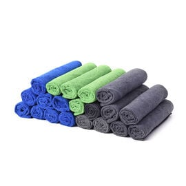 Set of 20 - Multi Purpose Cleaning Towels (40x40cm) in Blue (8pcs), Dark Grey (8pcs) and Green (4pcs