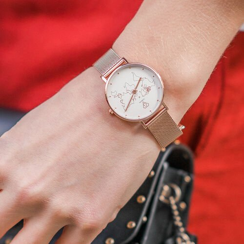 Abeona Carte du Monde Rose Gold Mesh Watch