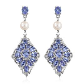 Tanzanite, Fresh Water Pearl and Natural Cambodian Zircon Earrings in Platinum Overlay Sterling Silver 5.250 Ct. Silver wt 6.09 Gms.