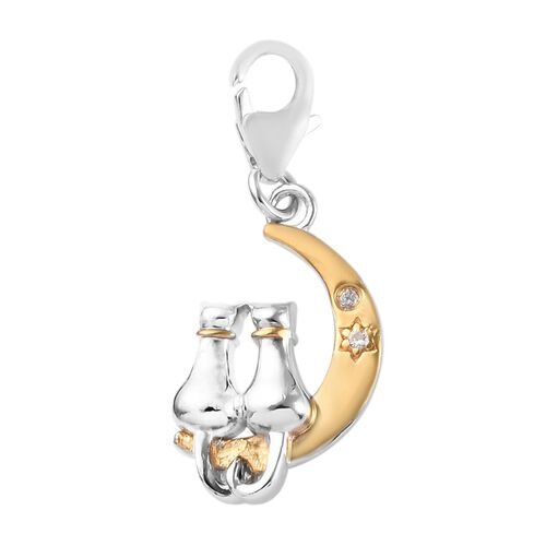 Natural Cambodian Zircon (Rnd) Twin Cat Charm in Platinum, Black and Yellow Gold Overlay Sterling Si