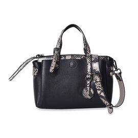 100% Genuine Leather Litchi Pattern Tote Bag with Detachable Shoulder Strap (Size 28x13x18 Cm) - Bla