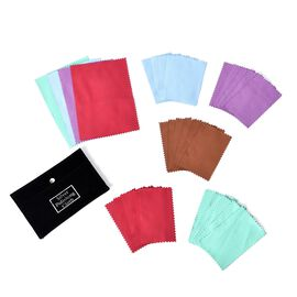 30 Pcs Anti-Tarnish Silver Polishing Cleaning Cloths in Black Pouch (Size 10.8x6.8 Cm) Colour - Coff
