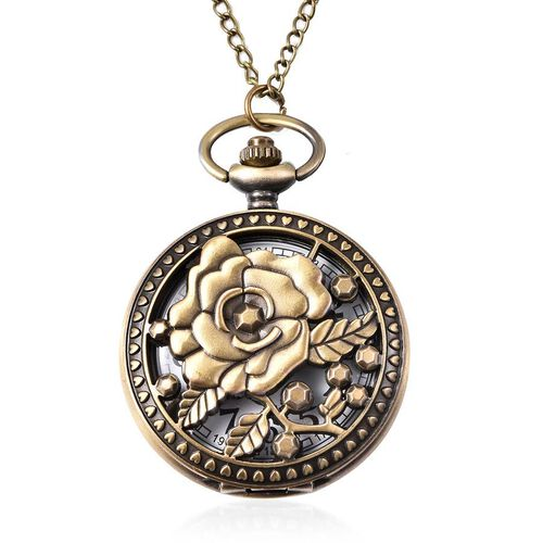 Set of 2 - STRADA Japanese Movement Rose Pattern Pocket Watch with Chain (Size 31) in Antique Bronze