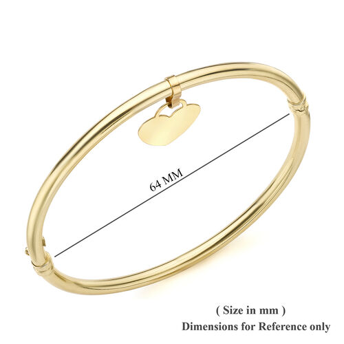 9K Yellow Gold Heart Charm Bangle (Size 7.5), Gold wt 5.20 Gms