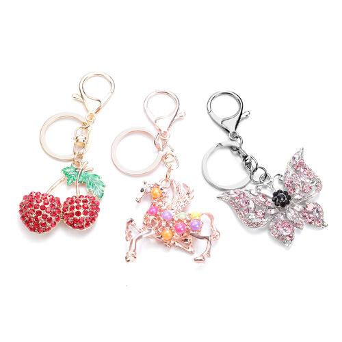 Set of 3 Multi Colour Austrian Crystal, Simulated Pink Sapphire and Multi Gemstone Cherry, Unicorn a