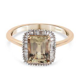 ILIANA 18K Yellow Gold Turkizite and Diamond (GH/S-I) Ring 3.15 Ct.
