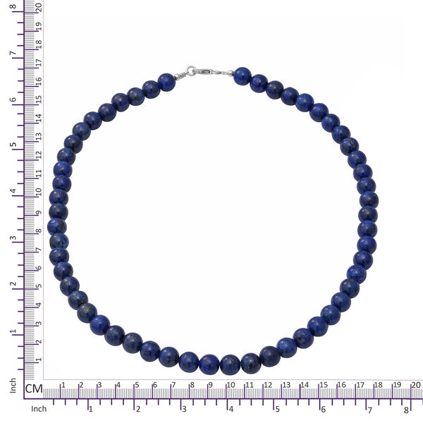Lapis Lazuli Necklace (Size 18) in Rhodium Overlay Sterling Silver   205.00 Ct.