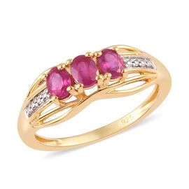 African Ruby Ring in 14K Gold and Platinum Overlay Sterling Silver