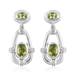 2 Carat AA Hebei Peridot Dangle Earrings in Platinum Plated Sterling Silver