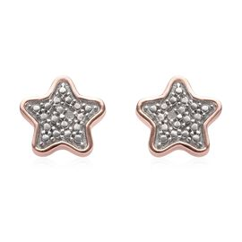 Diamond (Rnd) Star Stud Earrings (with Push Back) in Rose Gold and Platinum Overlay Sterling Silver