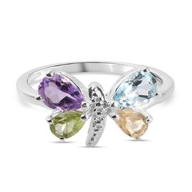 Citrine, Peridot, Bolivian Amethyst and Skyblue Topaz Dragonfly Ring in Sterling Silver 1.20 Ct.