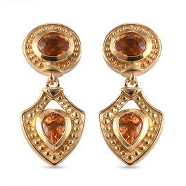 Orange Sapphire Dangle Earrings (with Push Back) in Yellow Gold Overlay Sterling Silver 1.68 Ct.