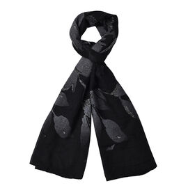 Black Colour Leaf Pattern Scarf (Size 180x70 Cm)