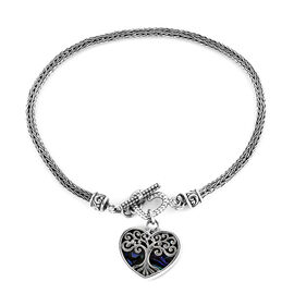 Royal Bali Collection Abalone Shell Tulang Naga Bracelet with Tree of Life Heart Charm in Sterling S