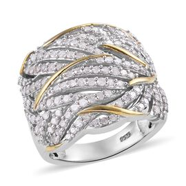 1 Carat Diamond Cluster Ring in Platinum and Gold Plated Sterling Silver 7.5 Grams