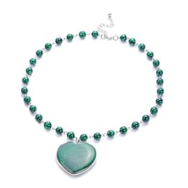 Malachite Heart Shaped Pendant in Beaded Necklace (Size 20.5)