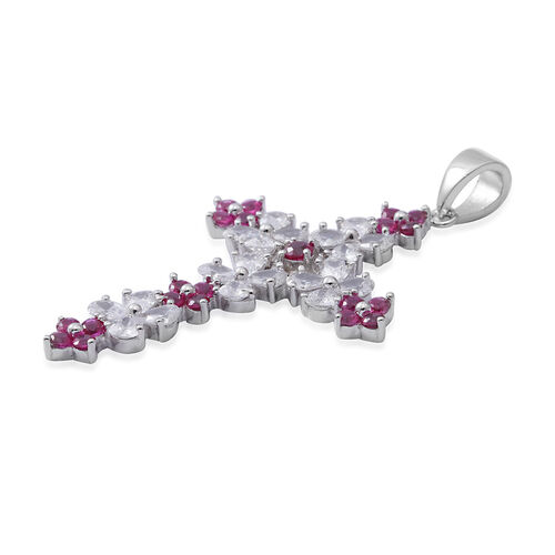 ELANZA Simulated Ruby (Pear and Rnd),Simulated Diamond Cross Pendant in Sterling Silver