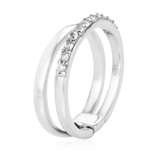 Sundays Child - Natural Cambodian Zircon Dual Ring in Platinum Overlay Sterling Silver 0.50 Ct.