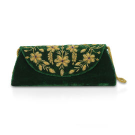 Peacock Sequence Hand Embroidered Velvet Clutch with Shoulder Strap (Size 25.4x12.7 Cm) - Green