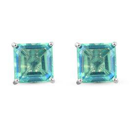 Peacock Triplet Quartz (Asscher 10x10mm) Solitaire Stud Earrings (with Push Back) in Platinum Overla
