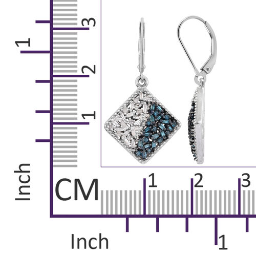 Blue and White Diamond (Bgt) Lever Back Earrings in Platinum Overlay with Blue Plating Sterling Silver 0.500 Ct.