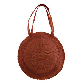 Bali Collection Palm Leaf Sisik Pattern Woven Round Bag with Leather Strap - Orange