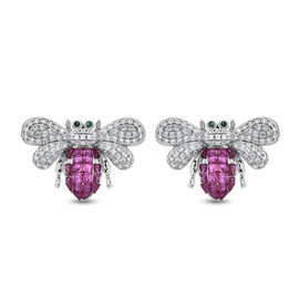 Lustro Stella - Simulated Ruby, Simulated Diamond and Simulated Emerald Bee Earrings (with Push Back
