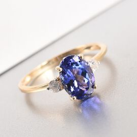9K Yellow Gold Tanzanite and Diamond Ring 2.13 Ct.