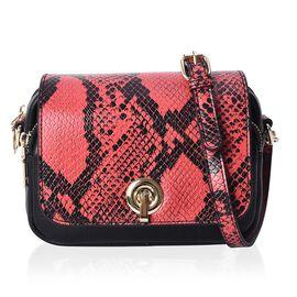 100% Genuine Leather Snake Skin Pattern Crossbody Bag (Size 19x6x15 Cm) - Red
