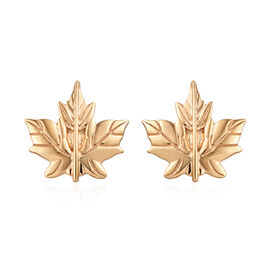 14K Gold Overlay Sterling Silver Maple Leaf Cufflinks