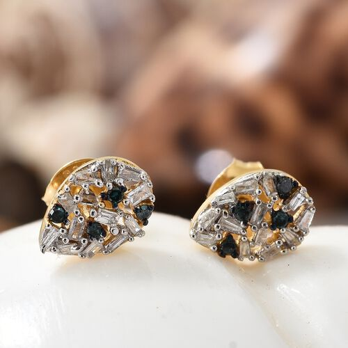 Blue Diamond (Rnd), White Diamond Stud Earrings (with Push Back) in 14K Gold Overlay Sterling Silver 0.250 Ct.