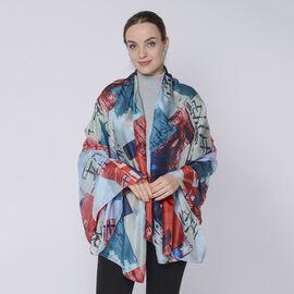 DOD - LA MAREY 100% Mulberry Silk Block Pattern Womens Scarf (Size:175x110Cm) - Multi