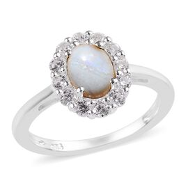 One Time Deal- Natural Australian Opal (Ovl 7x5 mm), Natural Cambodian Zircon Ring in Sterling Silve