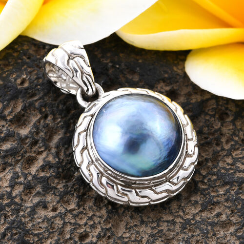 Royal Bali Collection Blue Mabe Pearl Solitaire Pendant in Sterling Silver